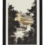 墨絵で描いた落水荘